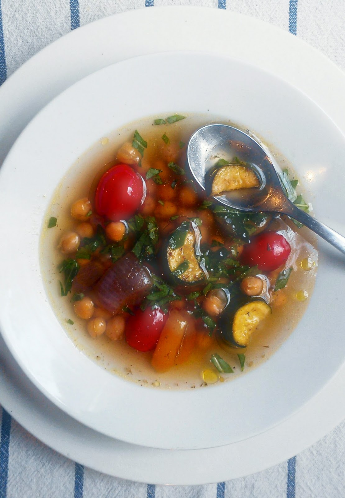 Cumin-Spiked Chickpea and Grilled Veg Soup