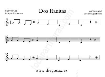 Dos Ranitas partitura para flauta, violín, saxofón alto, trompeta, clarinete, soprano sax, tenor, oboe, corno inglés, trompa, fliscorno en Clave de Sol