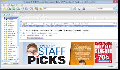 Main menu view of EML Viewer Pro software