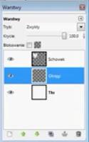 Dodanie warstwy okręgi do obrazu bazowego - okno warstw gimp - zrzut