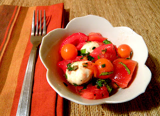 Individual bowl of Caprese Salad