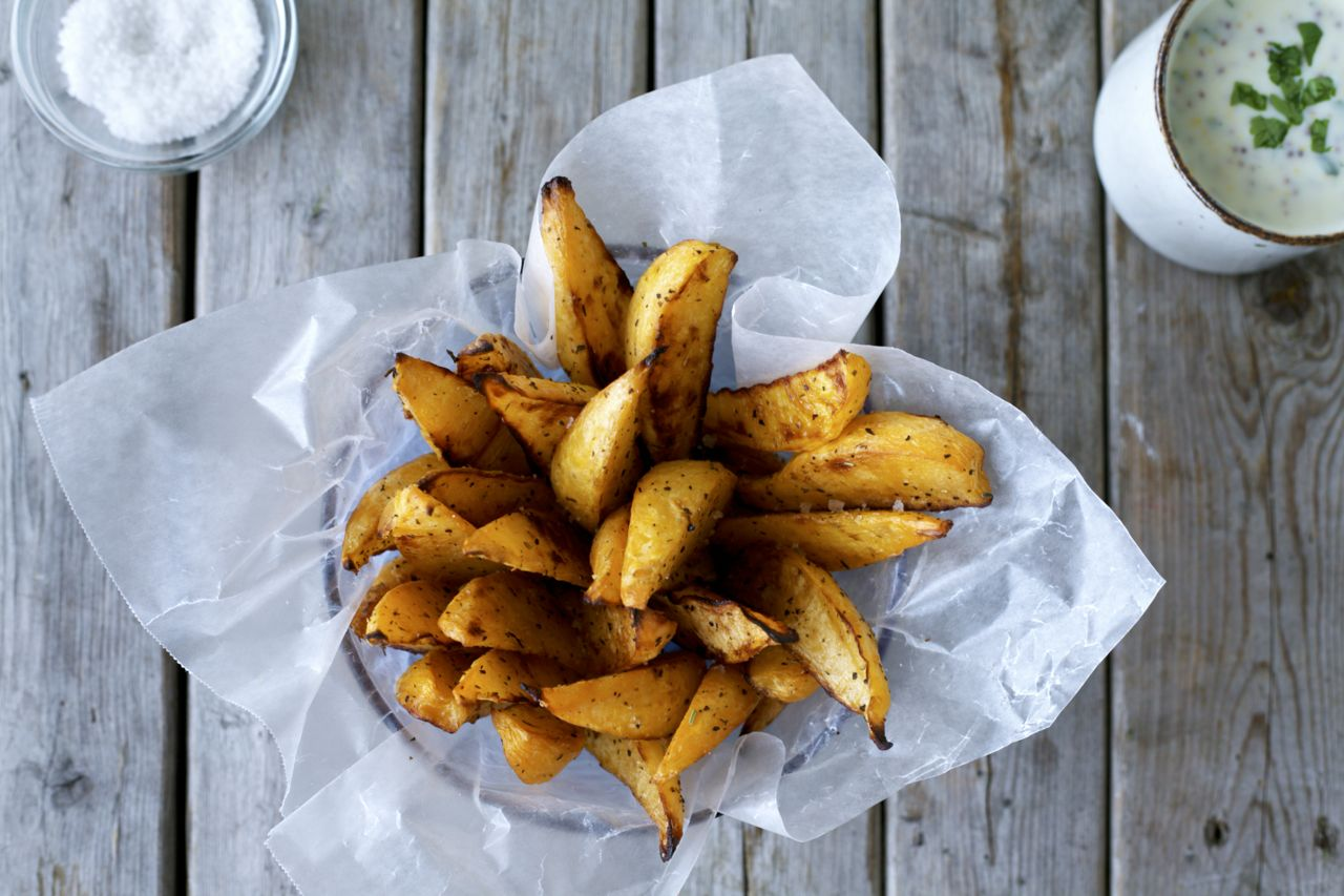 Oven-Baked Rutabaga Fries with Honey-Mustard Sauce