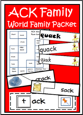 ACK family word family packet - center activities, word wall cards, self correcting puzzles and file folder games - free download from Raki's Rad Resources
