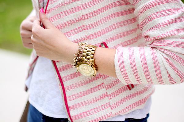 Fashion Union Pink Striped Jacket