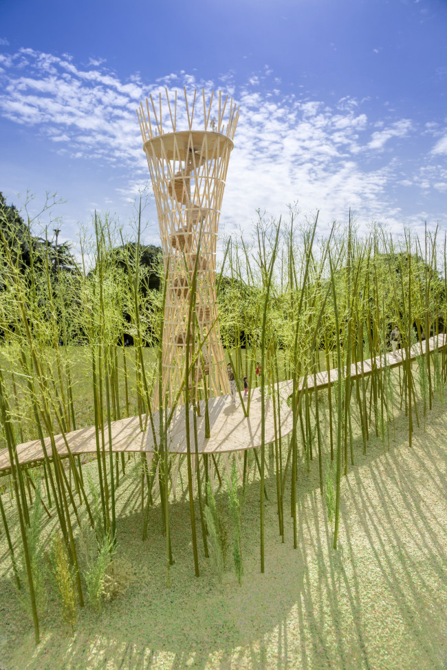 Japanese architect Shigeru Ban laid out his plans for the trail and an observatory tower, 'Tower of Wind,' a 20-meter-tall landmark from which people can observe the surrounding landscape.