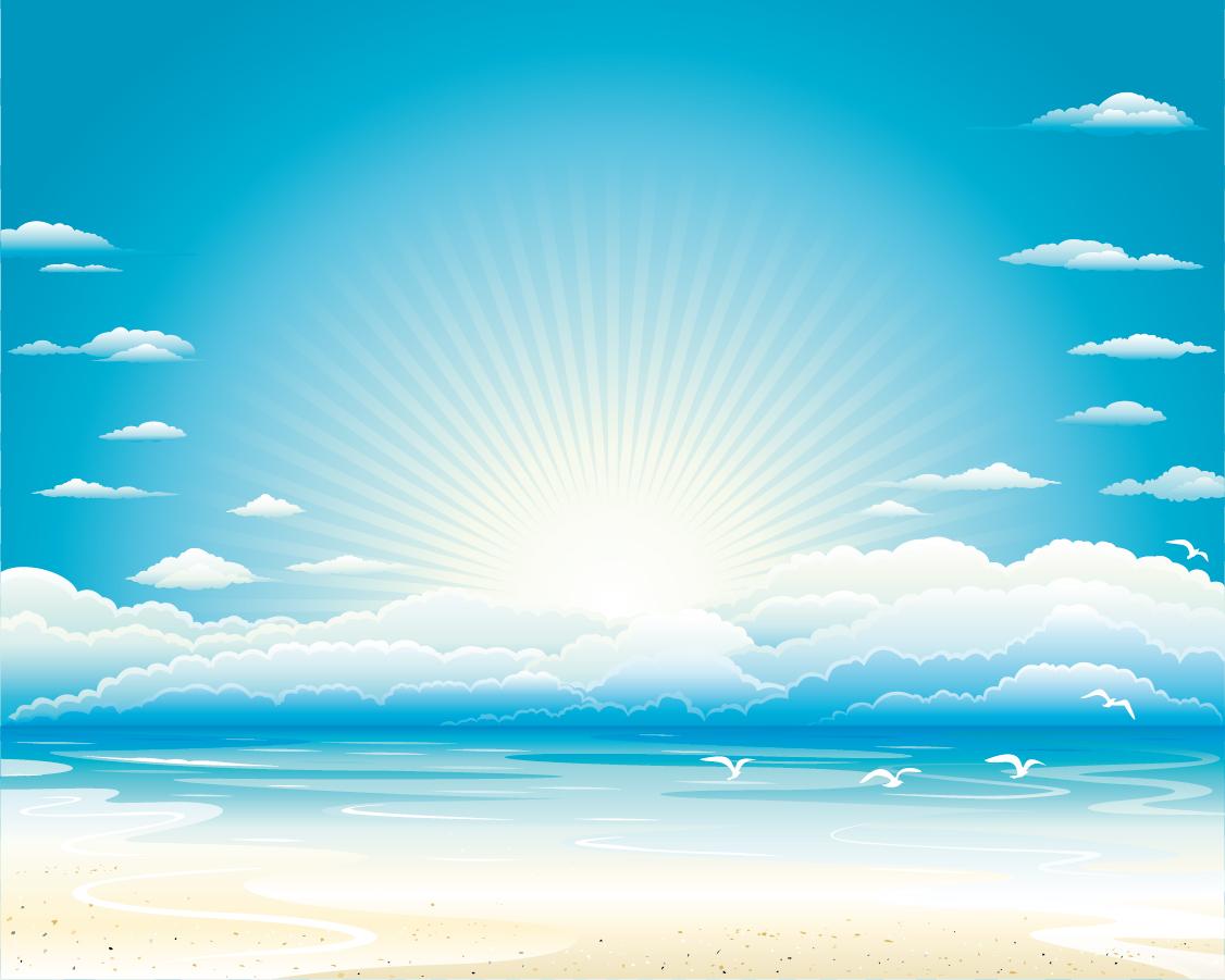 雲間から陽が射す浜辺の背景 Seagulls blue sky beach イラスト素材