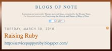 "Raising Ruby is a Google Blogger ""Blog of Note"""