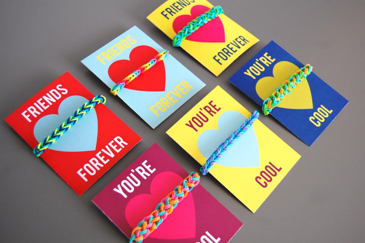 Printable Rainbow Loom Valentines Crafthubs – Cool Valentine Cards for Kids