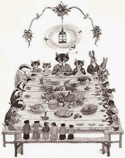 illustration of animals at a thanksgiving day turkey dinner by Donald Chaffin