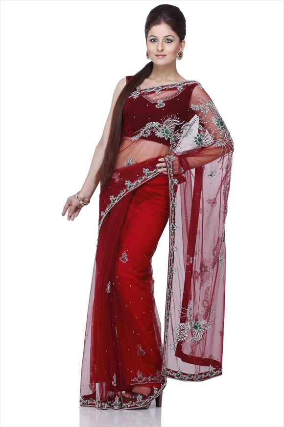 latest indian Maroon Sarees