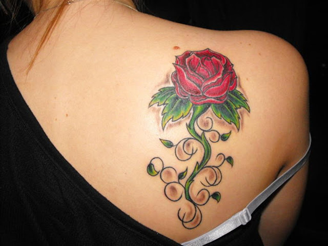 Back Shoulder Red Rose Tattoo