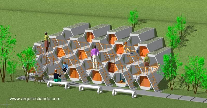 Diseño arquitectónico en panal de abejas microdormitorios para indigentes