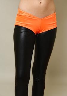 orange neon booty shorts