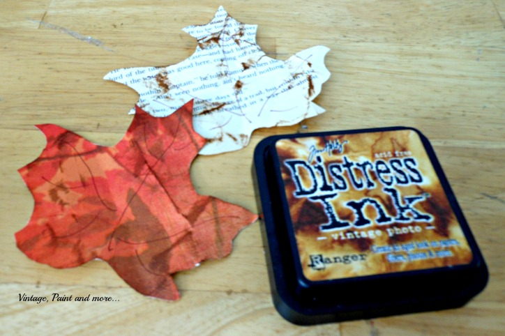 Vintage, Paint and more... paper leaves from scrapbook and book pages