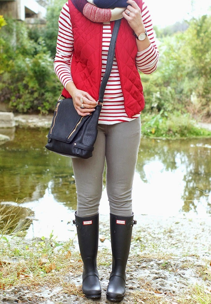 stripe turtleneck and red puffer vest for fall and winter style idea