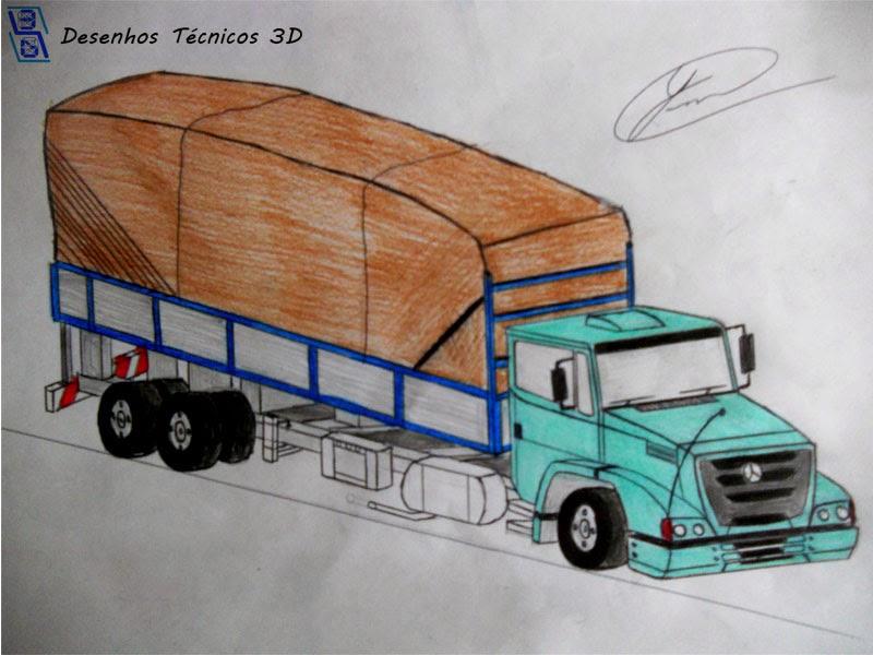 desenhos técnicos 3d caminhão mercedes benz actron