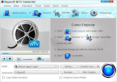 Bigasoft Wtv Converter 3.6.13.4455 Archivos Grabados Wtv A Cualquier Formato De Video