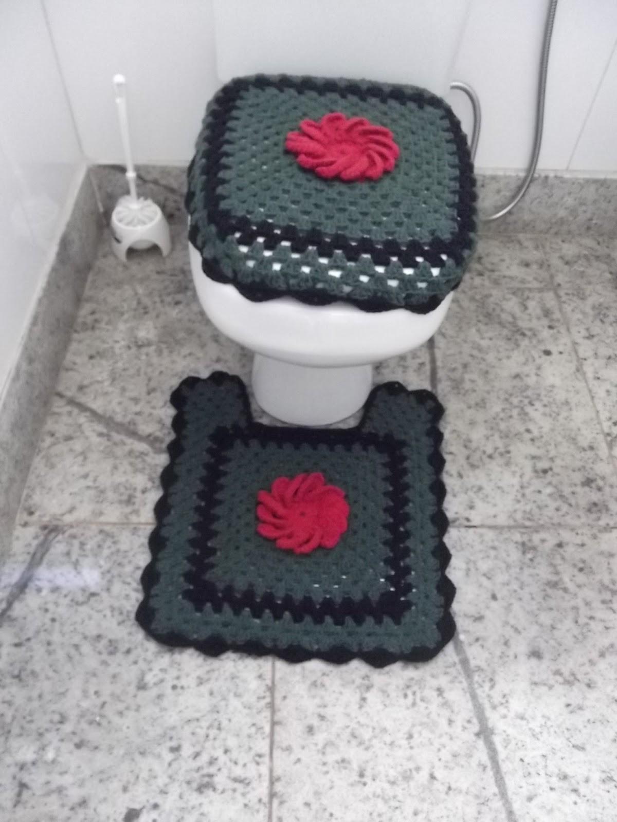 Jogo De Banheiro Quadrado Simples : Arte em croch? jogo de banheiro quadrado com mega flor