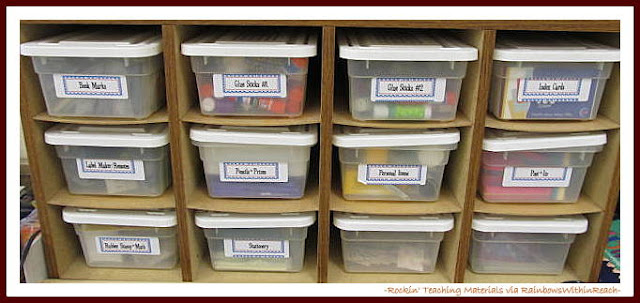 photo of: Organized Student Supplies (Rockin' Teaching Materials via RainbowsWithinReach)