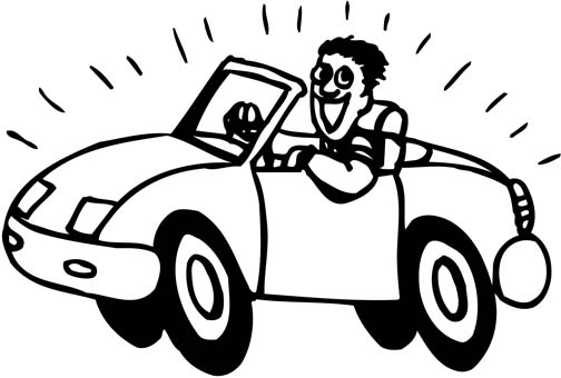 Car Driving Coloring Page
