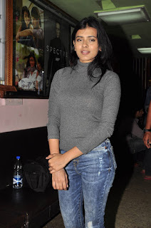 Hebah Patel in lovely Tight T Shirt and Denim Jeans at Sudarshan Theaters