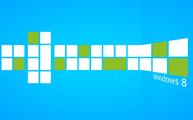 Blauwe Windows 8 Metro wallpaper met witte en groene tegels