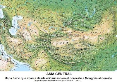 Mapa físico de Asia Central que abarca desde el Cáucaso en el noroeste a Mongolia al noreste