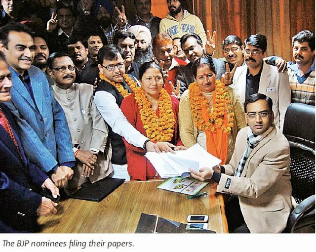 BJP nominees filing their papers in the presence of Satya Pal Jain & other BJP leaders