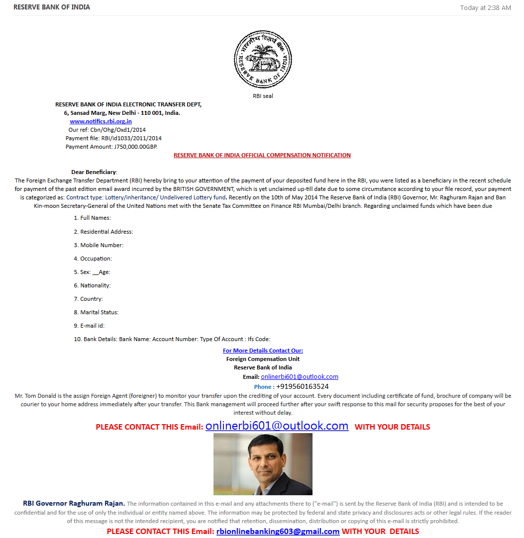 RBI phishing email