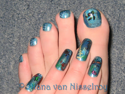 Diana china glaze dv8 with sea theme nail art i just stamped some light blue bubbles and a water decal of the turtle from finding nemo on my big toe prinsesfo Gallery