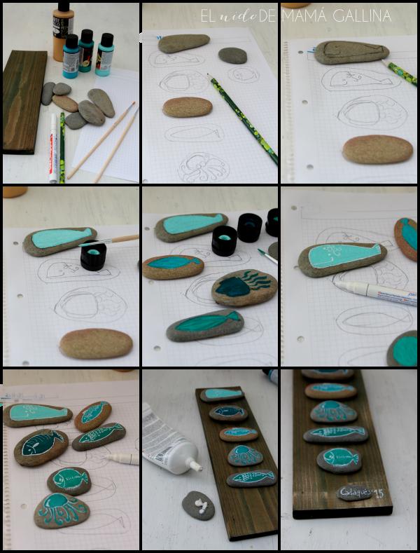 Diy c mo hacer un cuadro con peces de piedra el nido de - Cuadros hechos con piedras de playa ...