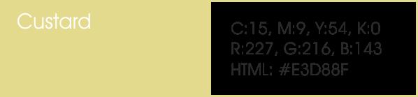 Custard y sus códigos cmyk, rgb, html