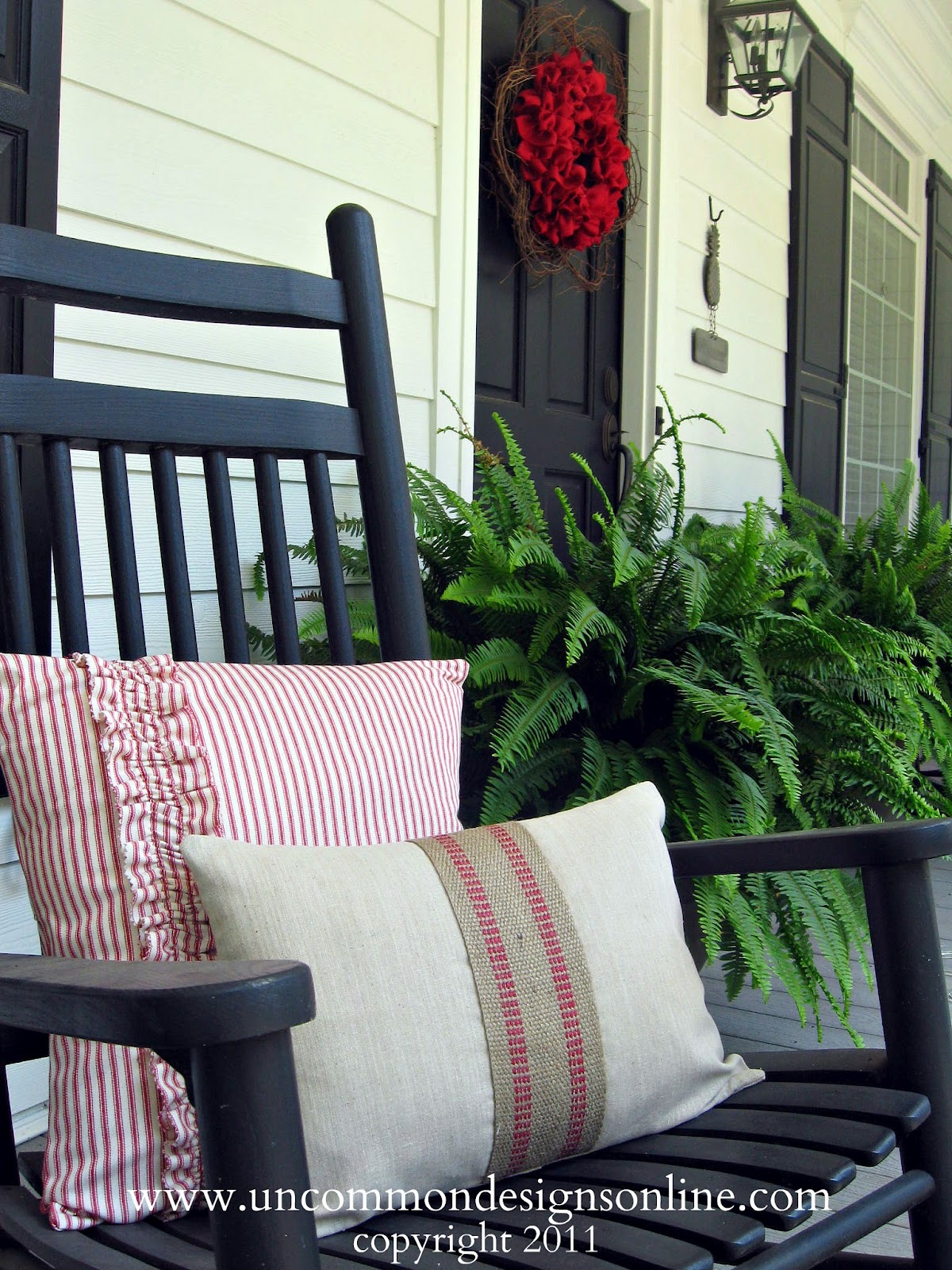 Ticking Stripe Porch Pillows For 4th Of July