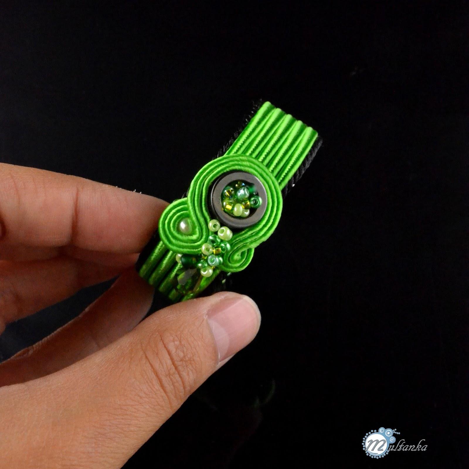 Zielona bransolteka soutache - wykonanie multanka