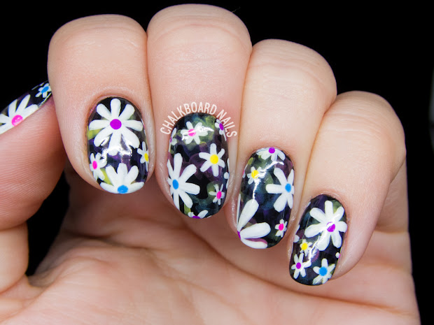 electric daisy floral print nail