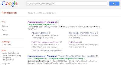Kumpulan Adsense Blogspot dapat Sitelink dari Google