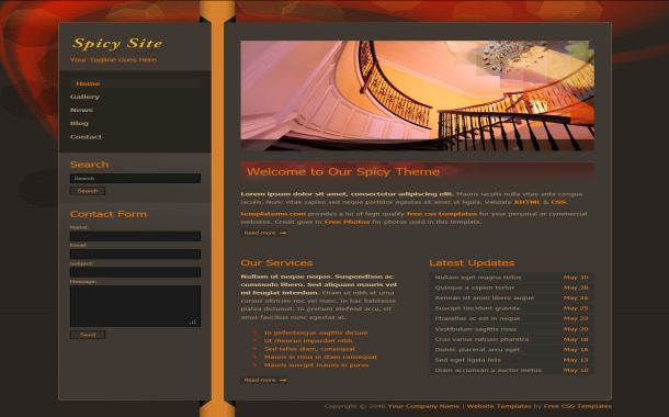 Abstract Red Brown Free Website Template