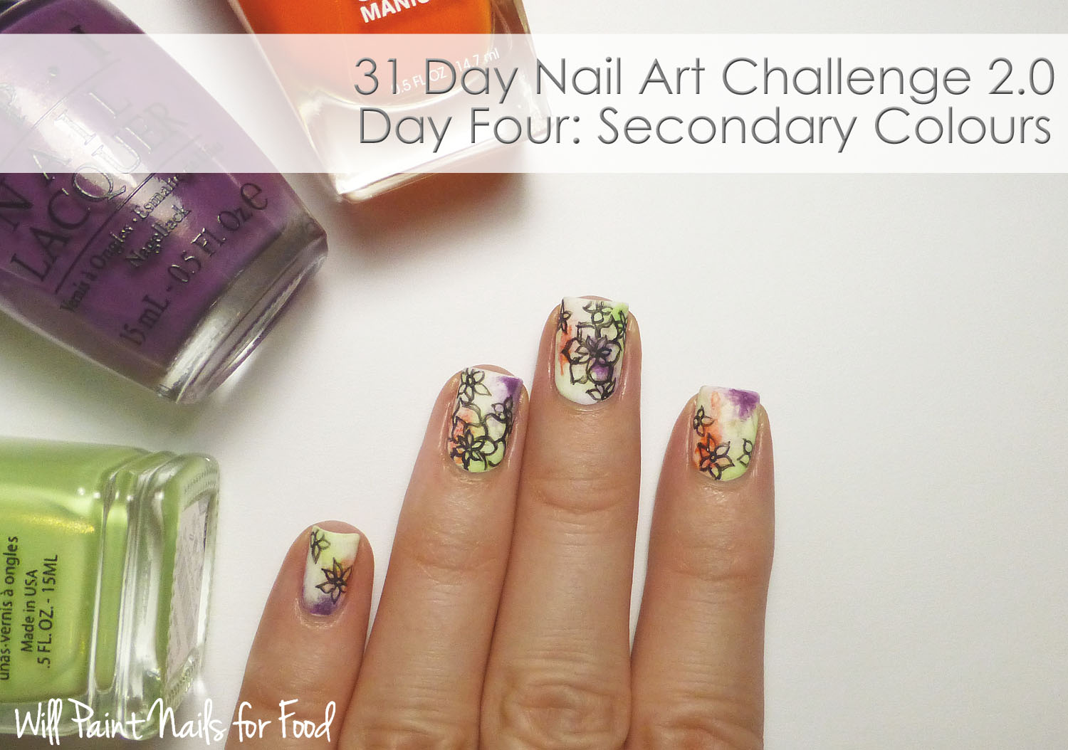 Abstract floral nail art