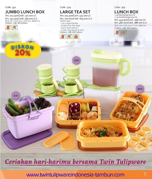 Promo Diskon Tulipware | September - Oktober 2015, Jumbo Lunch Box, Large Tea Set, Lunch Box
