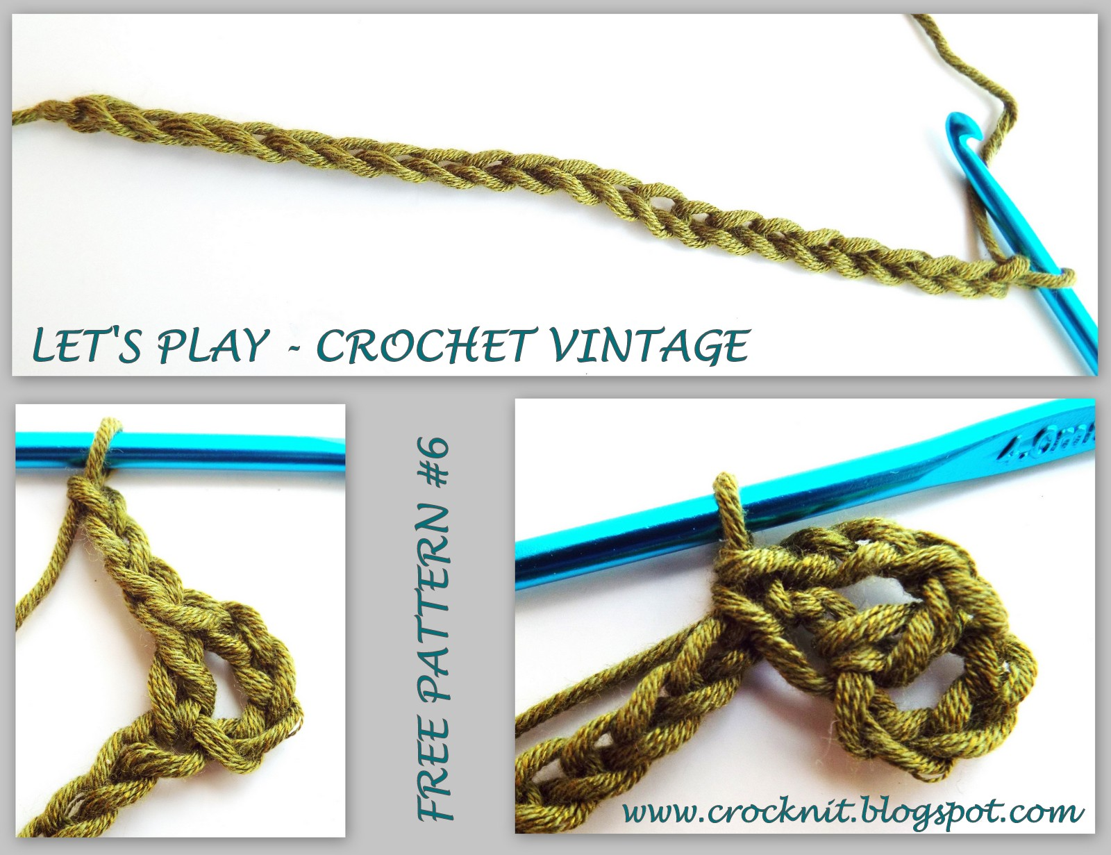 Crochet Stitch Yrh : Row 1: (1dc, ch3, 1sc) in 5th ch from hook, *skip 3ch, (2dc, ch3, 1sc ...