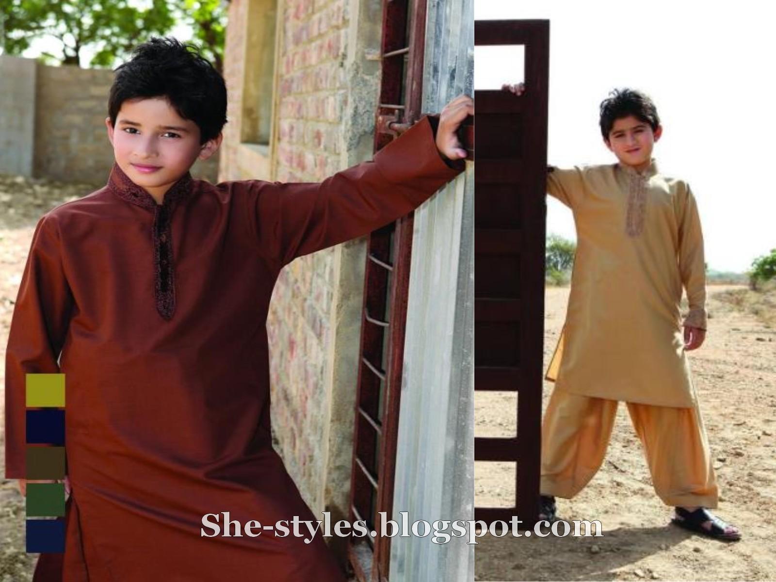 Eid kids kurta shalwar kameez designs 2013 2014 - Kurta Salwar 2012 Embroidered Boys Kurta