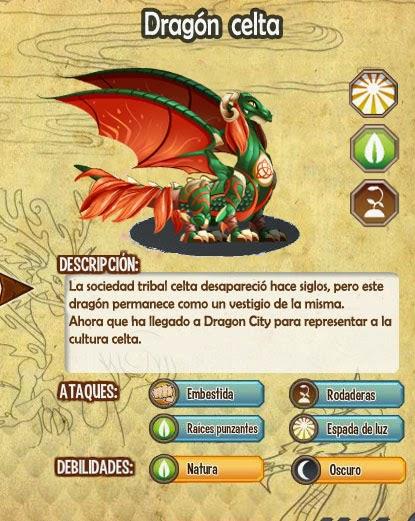 imagen de las caracteristicas del  dragon celta