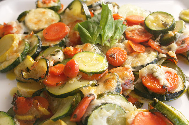 My favorite thing to do with our garden vegetables is roast them for this roasted cheesy basil recipe! ohsweetbasil.com
