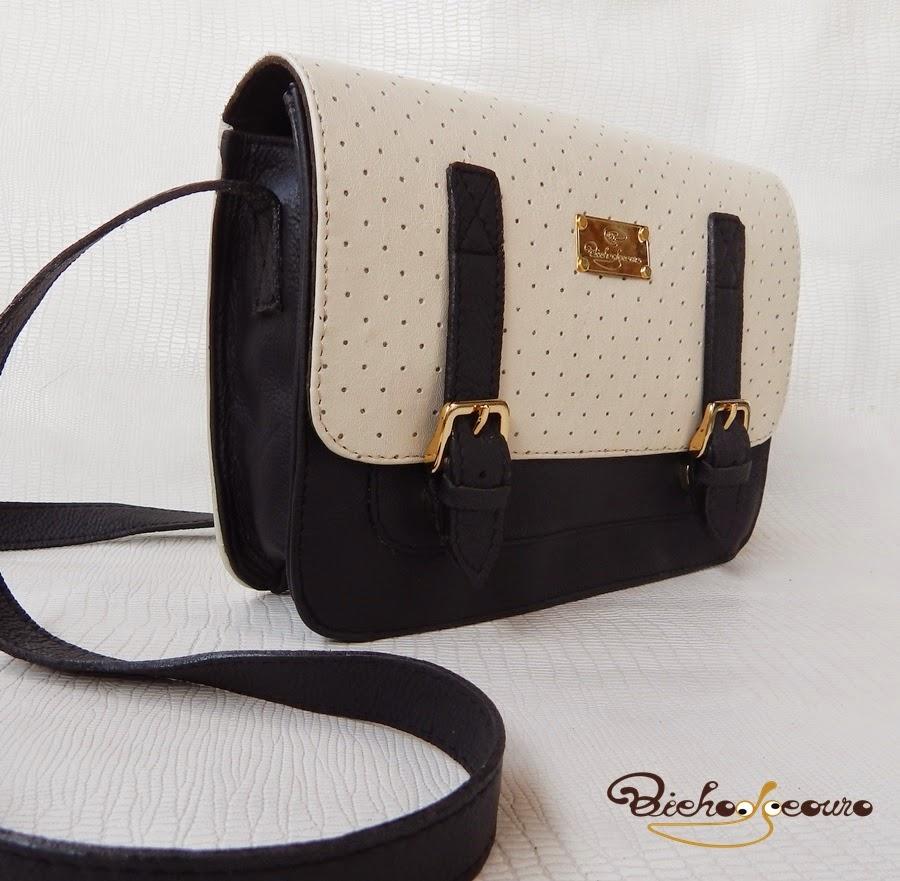 bolsa retro preta e branca