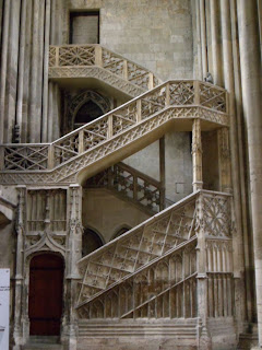 Staircase in Rouen cathedral, France