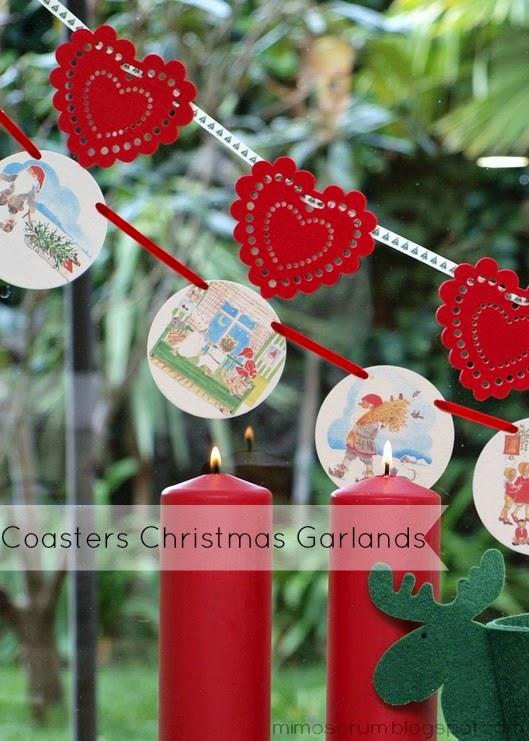 Guirnaldas de Navidad con Posavasos. Coasters Christmas Garlands
