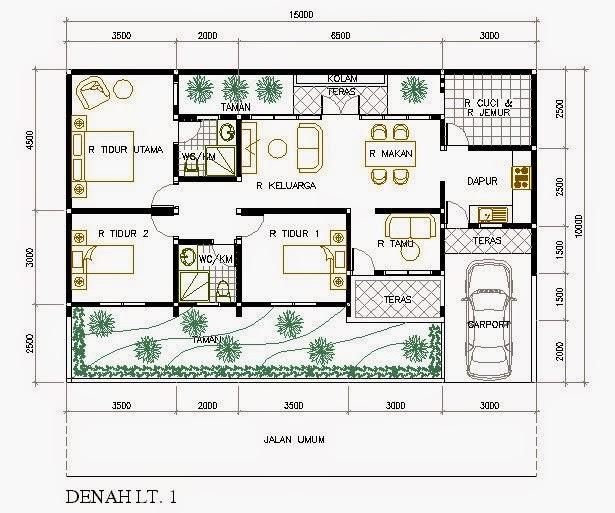 gambar Denah Rumah Minimalis 3 Kamar Tidur