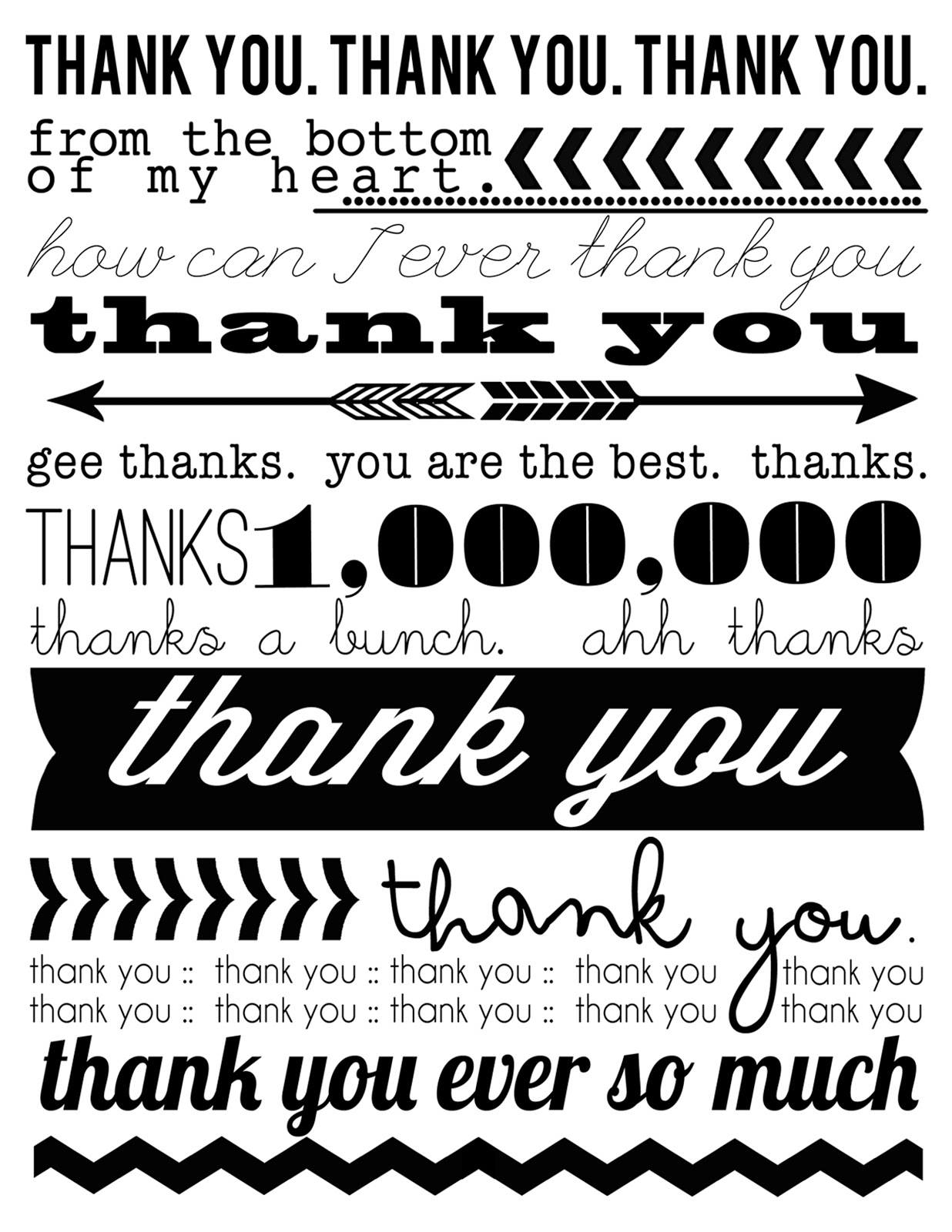 Revered image throughout free printable thank you cards black and white