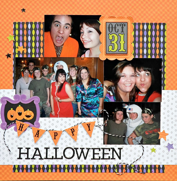 Doodlebug Halloween Scrapbook Layout (via shezigzags.blogspot.com)