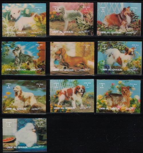 1972年ウムアルキワイン 3D切手 ウエスト・ハイランド・ホワイト・テリア ベドリントン・テリア シェットランド・シープドッグ シュナウザー ダックスフンド パピヨン コッカー・スパニエル キャバリア・キング・チャールズ・スパニエル ヨークシャー・テリア プードルなど10犬種